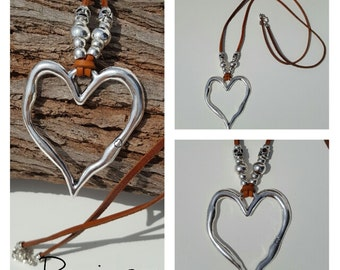 leather necklace, big heart