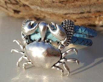 braided leather Bracelet, crab