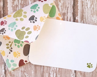 Paw Print Mini Envelopes, Paw Print Blank Cards, Small Stationery, Gift Cards, Enclosure Cards, Favor Cards, Patterned Envelopes, Set of 4