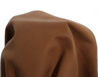 "Leather Piece 12""x12"" Cognac Tan Impact Crush nappa hide cowhide skin 2.5 oz 1.2 mm nappa genuine  cow"