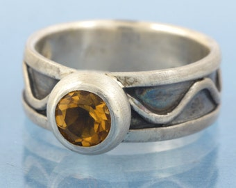 Ring silver with citrine - sterling silver handmade,