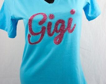 Gigi on turq vneck tshirt - Sample Sale - Great price - Gigi glitter tee