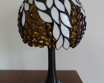 Lamp Amber  White Tiffany Style Stained Glass