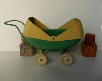 "Large ~ Size 8 3/4"" ~ Vintage Metal ~ Jade Green and Yellow Doll Buggy ~ Stroller ~ Pram Or Doll Carriage"