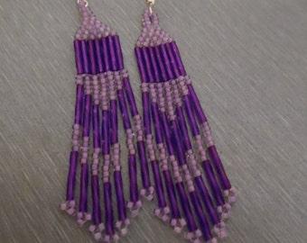 Purple Fringe Earrings
