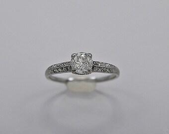 0.67ct. Diamond & Platinum Art Deco Engagement Ring- J34179