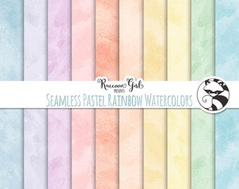 50% OFF Seamless Pastel Rainbow Watercolor Texture Digital Paper Set - Personal & Commercial Use