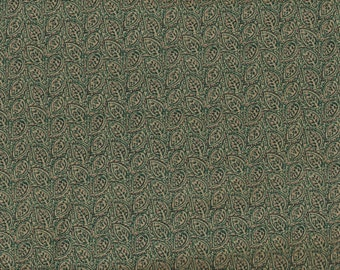 Foliage Quilt Fabric - Green & Golden Beige Etched Leaves - OOP - 1/2 Yd