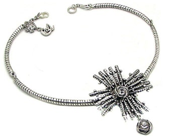 CHRISTIAN LACROIX, beautiful necklace in silver metal of the 80s-90s