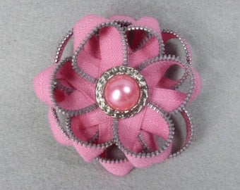 Pink Flower Brooch - Upcycled - Recycled - Repurposed - Flower Brooch - Zipper Brooch - Zipper Pin - Zipper Flower - Flower Pin - Jewelry