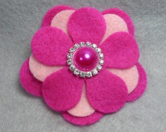 Felt Flower Barrette - PInk Felt Hair Clip