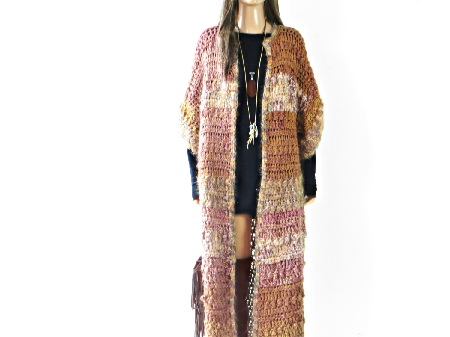 Maxi Sweater Crochet Cardigan Duster Jacket Coat long knitted