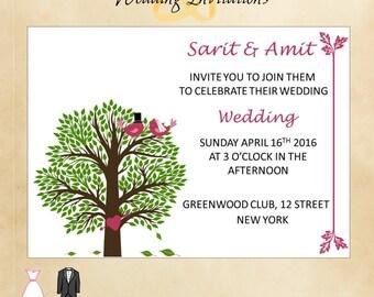 Rustic Wedding Tree Invitation - Tree and Loving Birds on Invitation - Wedding Digital File