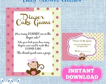 Monkey Girl Baby Shower Diaper Cake Game Cards and  Matching Sign-How Many Diapers are in this Diaper Cake-Printable Instant Download