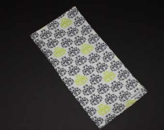 Gray and green Swaddling Blanket