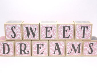Sweet Dreams - Wood Baby Blocks - Nursery Room Decor - Pink and Grey - Baby Girl - Baby Shower Gift - Newborn Photography - 2 Inch Blocks