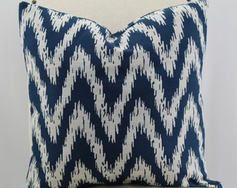 Designer chevron fabric navy blue and white, pillow cover,accent pillow,decorative pillow,lumbar pillow,same fabric front and back.