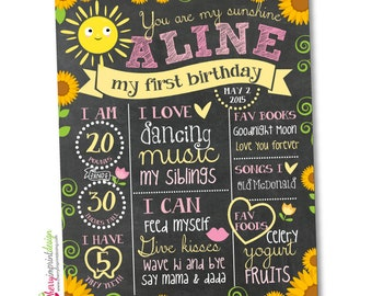 You Are My Sunshine First Birthday Chalkboard Milestones - Sunflower Chalkboard Photo Prop Poster - Printable and DIY (Digital File)