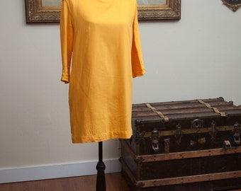Mustard Yellow Shift Dress with Ruffle Neck