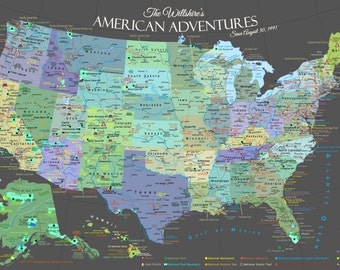 Usa Map And National Park Map Poster See America Map Usa Map Personalized