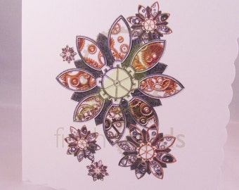 Steampunk Flowers Blank Card, Flower Card, Flowers Card, Steampunk Card, UK