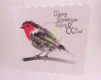 Robin Christmas Card, Mum & Dad Xmas Card, Robin Card, UK