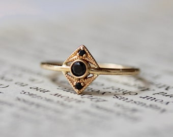 14k Gold Black Diamond Ring, Art Deco Ring, Solid Gold Ring, Filagree Ring, Chevron Diamond Ring, Dainty Jewelry, Real Gold