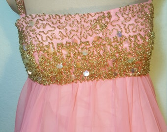 FREE  SHIPPING  Vintage Chiffon  Couture  Gown