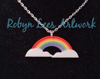 Printed Acrylic Rainbow and Clouds Necklace on Silver or Gold Crossed Chain