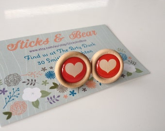 Red Heart Wooden Earrings - 1x pair of  wooden earrings in love heart design - 20mm wood disc set on surgical steel posts with resin heart