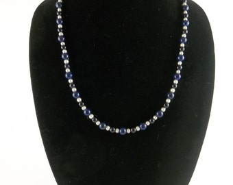 Glass Beaded Necklace Blue and White
