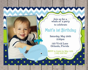 Boy First Birthday Invitation, Whale Birthday Invite, with Photo, Chevron, Blue Navy and Green, 1st, 2nd, 3rd, 4th - 5057