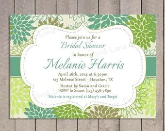 Green Bridal Shower Invitation, Wedding Shower, Floral, Mums, Printable - 293
