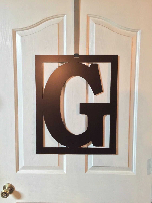 22 block font rectangle monogram front door wreathmetal for Metal letters for front door