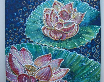 Lotus flower, original painting on canvas, acrylic painting on canvas, flower painting on canvas