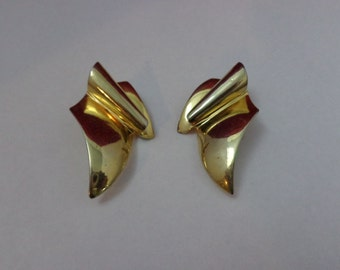 LARGE vintage PISCITELLI Gold Toned Earrings 80s BIG Earrings