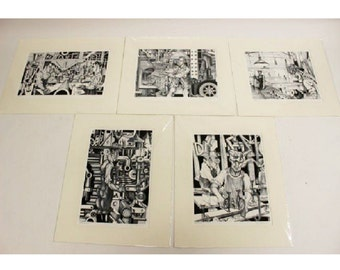 Adnan Charara Industrial Suite of Signed & Numbered Serigraph Prints