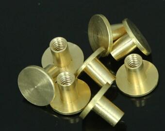 "10 pcs 9 x 7 mm raw brass studs, screw rivets, chicago screw / concho screw, unusual steampunk finding, 1/8"" bolt CSC6"
