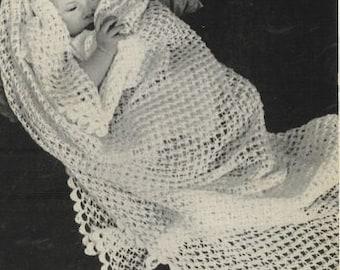 baby shawl vintage crochet pattern PDF instant download