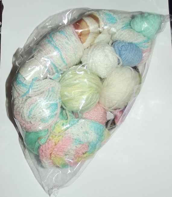 Puppy Bows ~ baby yarn crafting supplies some crochet afghan completed squares pink blue