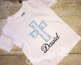 Cross Baptism Shirt,Cross applique shirt, baptism applique shirt, 1st communion shirt, Easter shirt, Cross Easter shirt