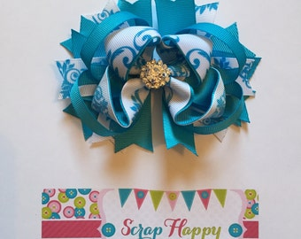 Turquoise and White Damask Over the Top Hair Bow