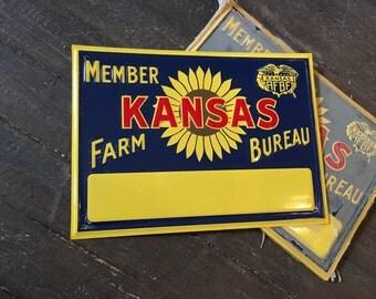 Vintage NOS Kansas Farm Bureau Ranch Barn Tin Metal Sunflower Single Sided Sign