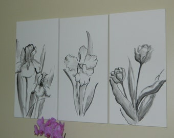 3 panel black and white flower painting floral art minimal modern artwork canvas acrylic painting flowers simple wall art wall decor