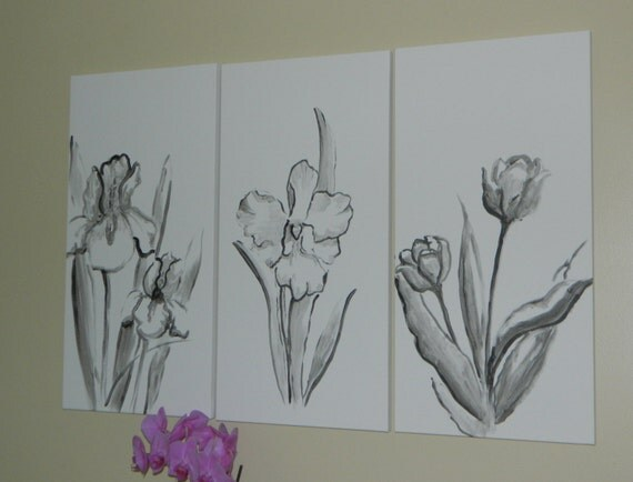 Sold 3 panel black and white flower painting floral art minimal modern artwork canvas acrylic painting flowers simple wall art wall decor