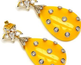 Yellow Star Earring, Fancy Gemstone Earring,Yellow Gemstone Handcrafted Earrings, Designer Silver Earring, sterling Silver Topaz Earring