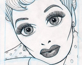 LUCILLE BALL original glamorous pencil drawing for the US postage stamp