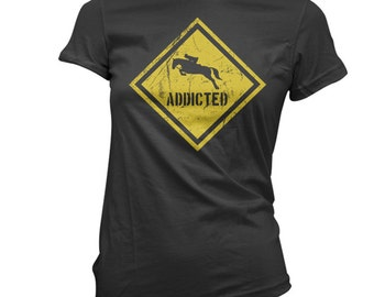 Lady's Caution horse addict t-shirt funny horseback ridding tee