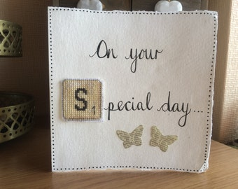 On your Special Day/Wedding/Engagement Scrabble Cross Stitch Card
