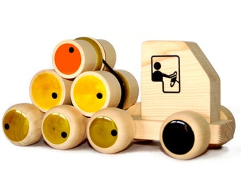 Organic Handcrafted Wooden Push Toy with Rolling Logs
